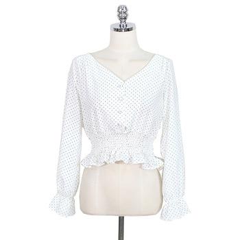 Vintage V-neck Flare Sleeve Polka Dot Women Blouse Shirts Elegant Front Buttons Slim Waist Ruffles Female Blouse blusas 6602 50 10