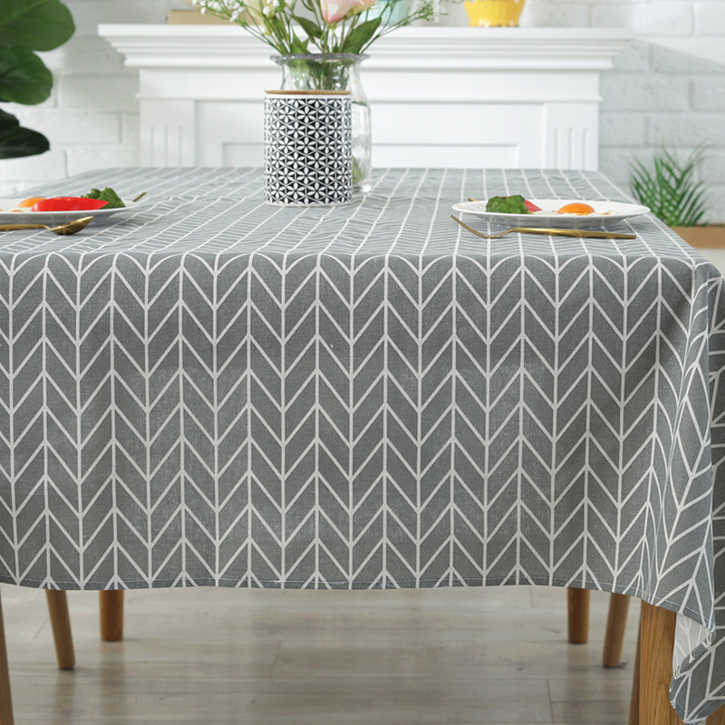 Simple Table Cloth For Dinning Room Picnic Geometric Rectangular Tablecloth Cover Gray Yellow Table Cover Mat Kitchen Decoration in Tablecloths from Home Garden