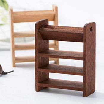 1/12 Mini Wooden Storage Shelf 4 Layer Display Rack Dollhouse Furniture Decor image