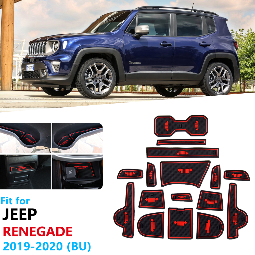 Anti-Slip Rubber Gate Slot Cup Mat for Jeep Renegade 2019 2020 Facelift Model Door Groove Mat Accessories Stickers Trailhawk