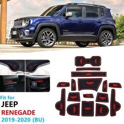 Anti-Slip Rubber Poort Slot Beker Mat Voor Jeep Renegade 2019 2020 Facelift Model Deur Groef Mat Accessoires Stickers trailhawk