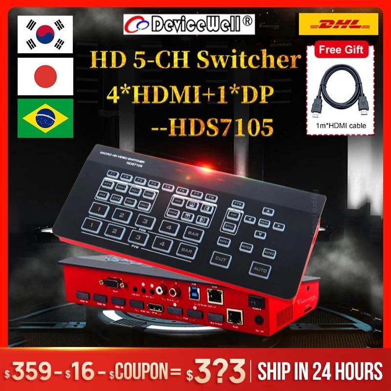 Супер мини-переключатель DeviceWell HDS7105, 4 входа HDMI + 1 DP, видеопереключатель для новых медиа, прямых трансляций Youtube, Ins ТВ, pk atem