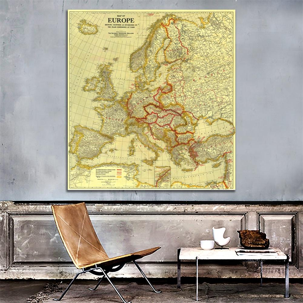 150x150cm HD Non-woven Waterproof Map Europe Vintage Map Peace Conference At Paris In 1920 For Home Decor Crafts And Wall