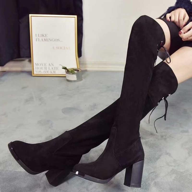 XZ0119 femmes automne hiver chaussures dames Sexy mince bottes de trempe femme épais talons hauts chaussures femmes longues bottes sur le genou