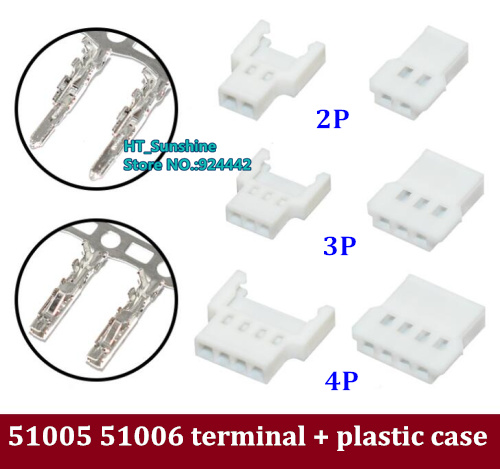 Free Shipping 51005 51006 2Pin 3pin 4pin 5pin Male And Female Terminal And Plastic Case Combination Set 100 Sets