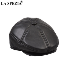 LA SPEZIA Real Leather Berets Man Black Casual Duckbill Hats Vintage Italian Luxury Genuine Winter Warm Flat Caps