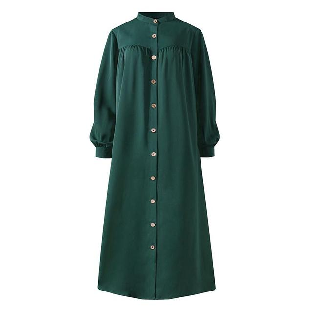 Plus Size Muslim Dresses 2020 Woman Shirt Dress Long Sleeve Maxi Vestidos Female Button Robe High Wasit Solid Sundress 4