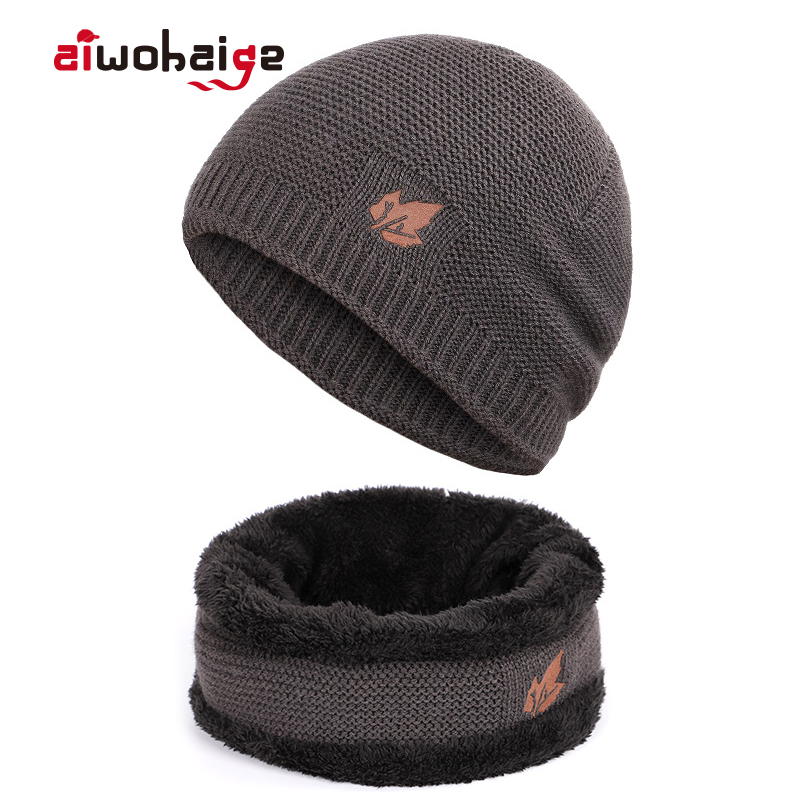 2018 New Fashion Maple Leaf 2 Pieces Set Knit Hat Scarf High Quality Plus Velvet Thick Winter Beanie Hats Scarves Man Woman Warm