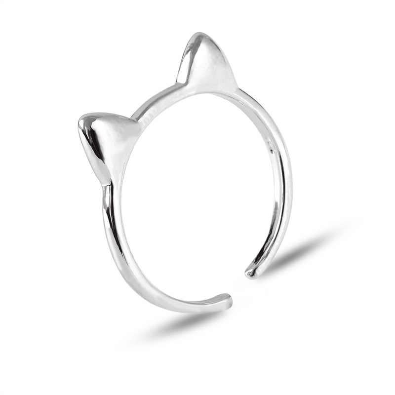 한국어 간단한 크리 에이 티브 디자인 반지 중공 고양이 반지 동물 만화 쥬얼리 블랙 반지 패션 여성 반지 러블리 액세서리