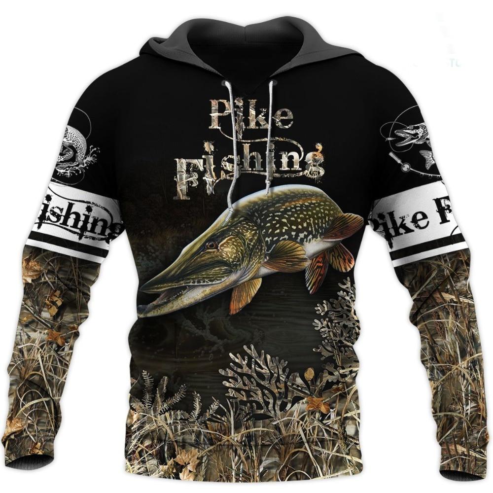 2020 New Pike Fishing 3D All Over Printed Mens Hoodie Harajuku Casual Sweatshirt Unisex Fashion Jacket Tops 9356