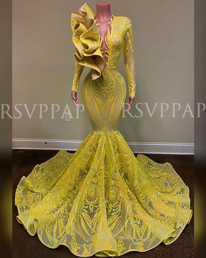 Long Prom Dresses 2020 Sexy See Through Top Sparkly Glitter Sequin African Black Girl Long Sleeve Yellow Mermaid Prom Dress