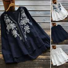 2020 Spring ZANZEA Women Embroidery Flowers Shirt Ladies Casual Long Sleeve V Neck Blouse Cotton Work Office Tunic Tops Blusas 7(China)