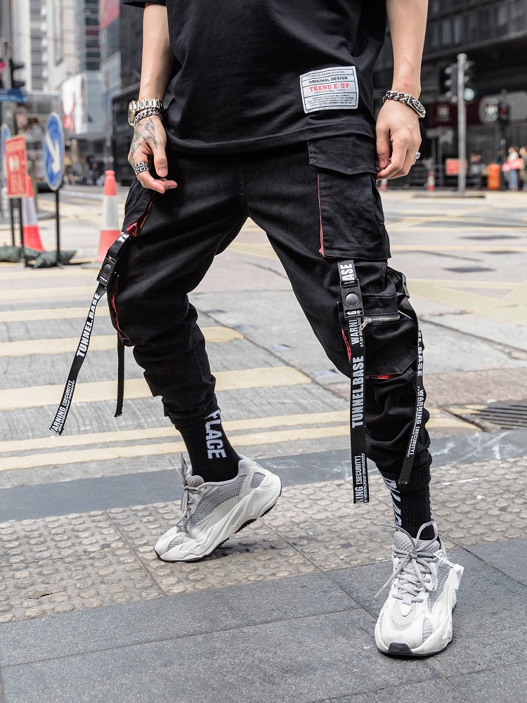 Black Hip Hop Cargo Pants Men  Streetwear Cotton Joggers Fashion Sweatpants Casual Harem Trousers Summer Harajuku Pants Men 2020