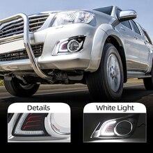 Carro piscando 1 par drl para toyota hilux vigo champ 2012 2013 2014 luz de circulação diurna estilo do carro nevoeiro lâmpada 12v