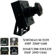 5mp 4mp ip mini caixa de metal câmera h.265 2592*1944 2560*1440 3516ev300 + imx335 toda a cor onvif cms xmeye p2p detecção de movimento rtsp