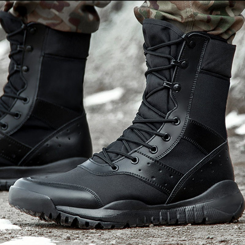 Summer And Autumn Outdoor Climbing Boots Unisex Waterproof Special Forces Breathable Mesh Combat Boots UltraLight Military Boots