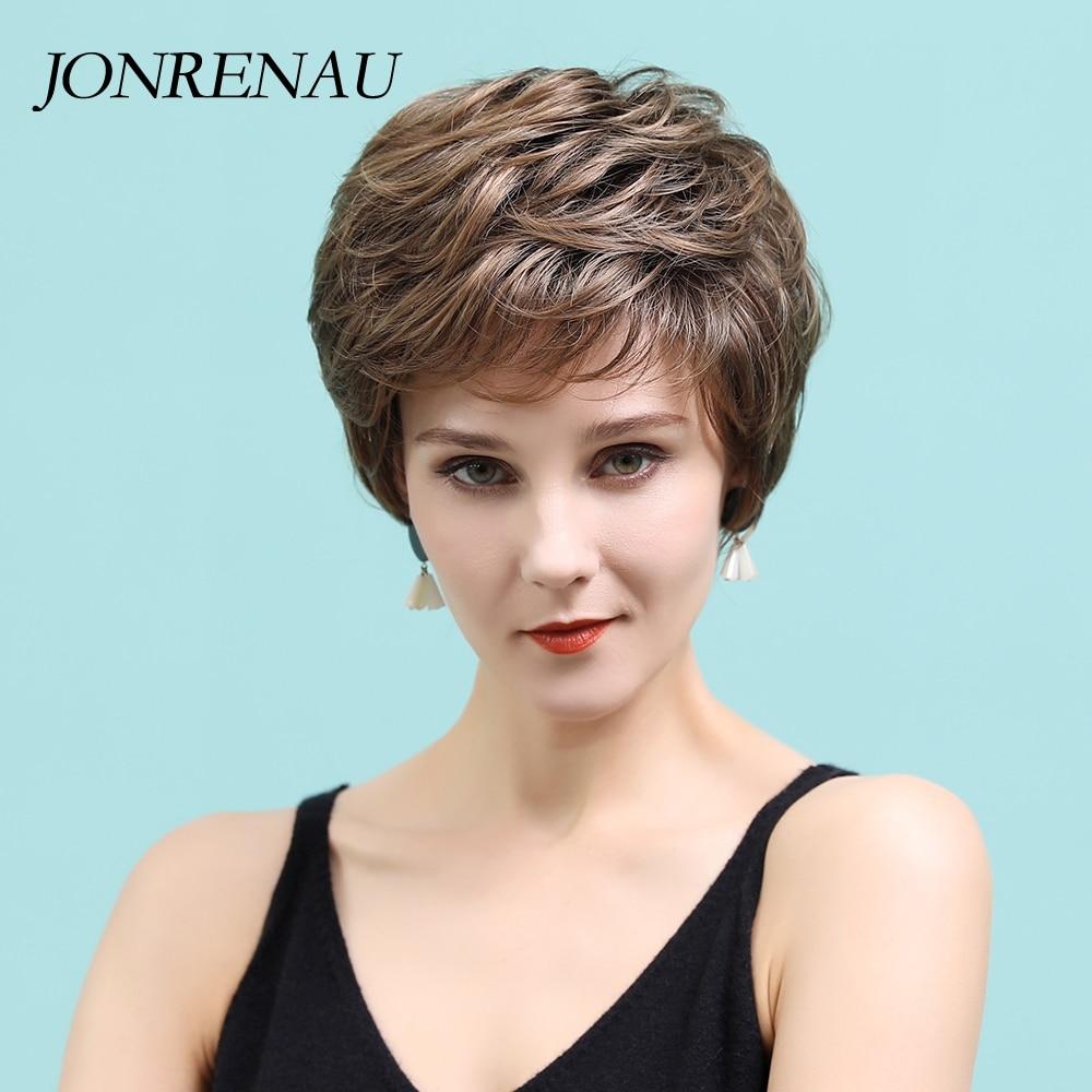 JONRENAU 11 pulgadas corto corte Pixie pelucas con destaca sintético marrón medio blanco recto mujeres pelucas de cabello humano, regalo