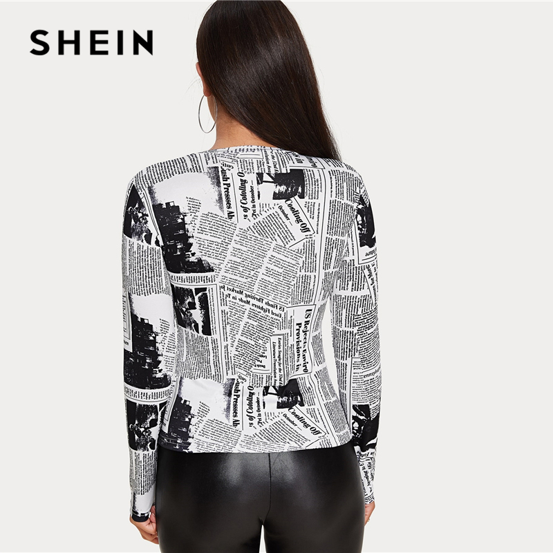 SHEIN Newspaper Letter Print Fitted Tee Women Casual Top Spring Autumn O-Neck Long Sleeve Skinny Streetwear T-shirts
