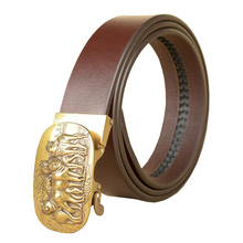 Western Five Wolves Design Gold Sliver Auto Buckle Leather Men Belt Fashion Black Coffee Business Causal Pants Jeans