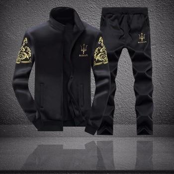 Men Running set Sports Suit Male Printed Zip Up long sleeve Jacket+pants Casual Jogger Sports Set Tracksuit Sportswear цена 2017