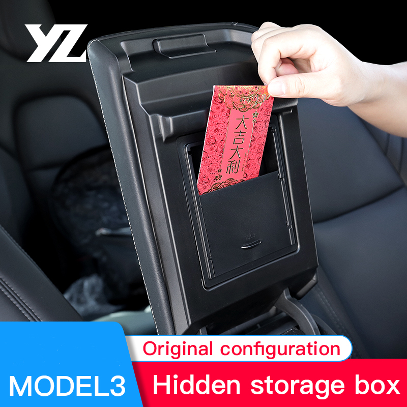 YZ For Tesla Model 3 Center Console Organizer Armrest Hidden Storage Box For Tesla Model 3 Car Accessory Auto Armrest Holder Box