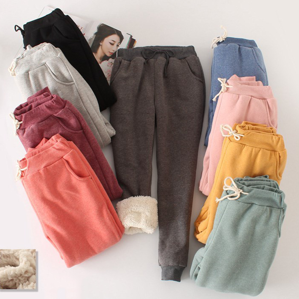 Women Pant Winter Thick Lambskin Cashmere Pants Warm Female Casual Pants Loose Harlan Pants Long Trousers Plus Size Xl