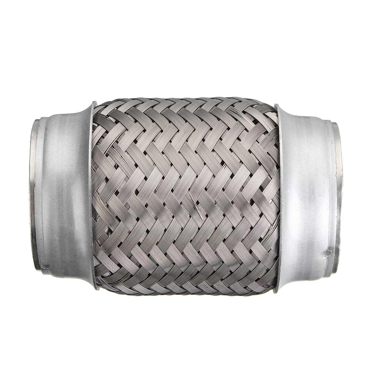 2.5x5 Inch Car Steel Exhaust Pipes Double Braided Flex Connector Adaptor