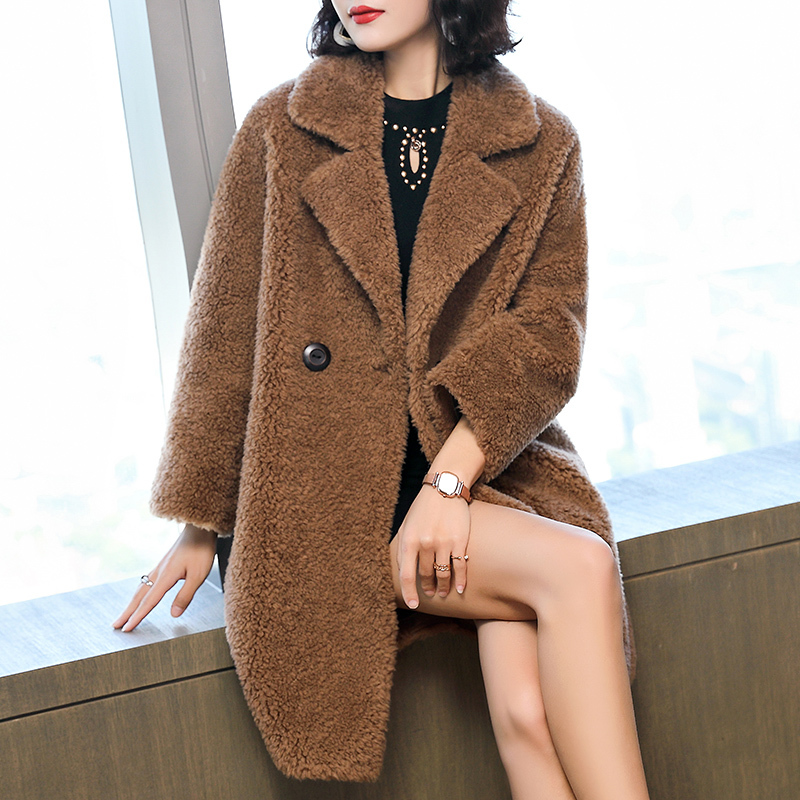 Shearling Sheep Real Fur Coat Autumn Winter Jacket Women 100% Wool Coat Female Korean Long Jackets Manteau Femme MY4203 S
