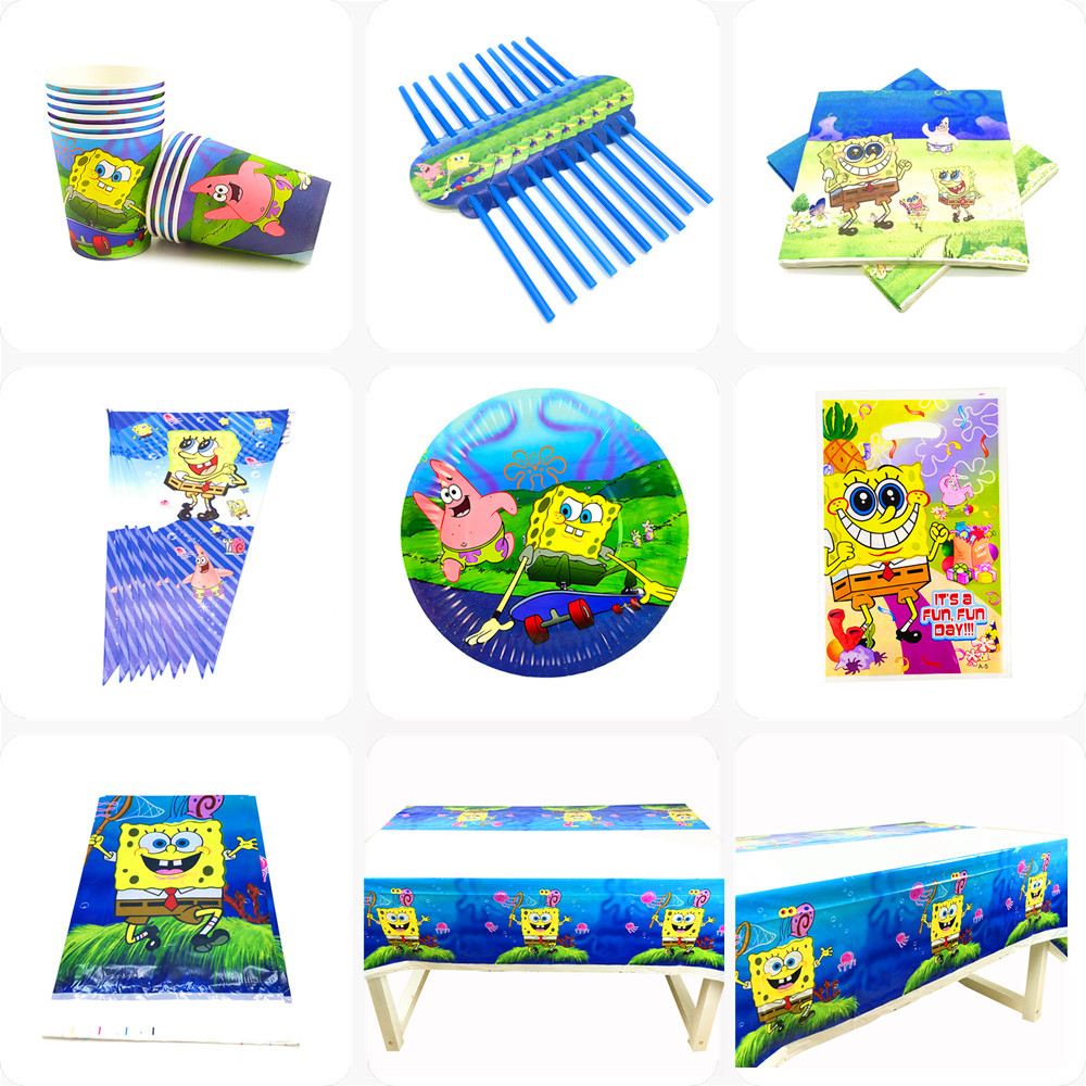 Cartoon Sponge-Bob Birthday Party Decoration Disposable Tableware Paper Plate Cup Flag Girl Boy Baby Shower Party Supplies Kids
