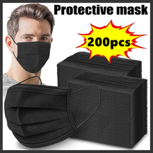 200PC czarne maski 3-warstwa maska na twarz maski Melt Blown tkaniny jednorazowe Anti-maski przeciwpyłowe Earloops usta maska Mascarillas tanie tanio ISHOWTIENDA YY0469-2011 Z Chin Kontynentalnych Medyczne 10-200PC 20202140856 Protective Disposable Mask Non-woven As shown
