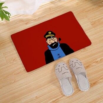 Cartoon Tintin Adventure Car Horse Nostalgic Home Doormat Corridor Kitchen Carpet Indoor Outdoor Welcome Non-slip Floor Mat 60cm