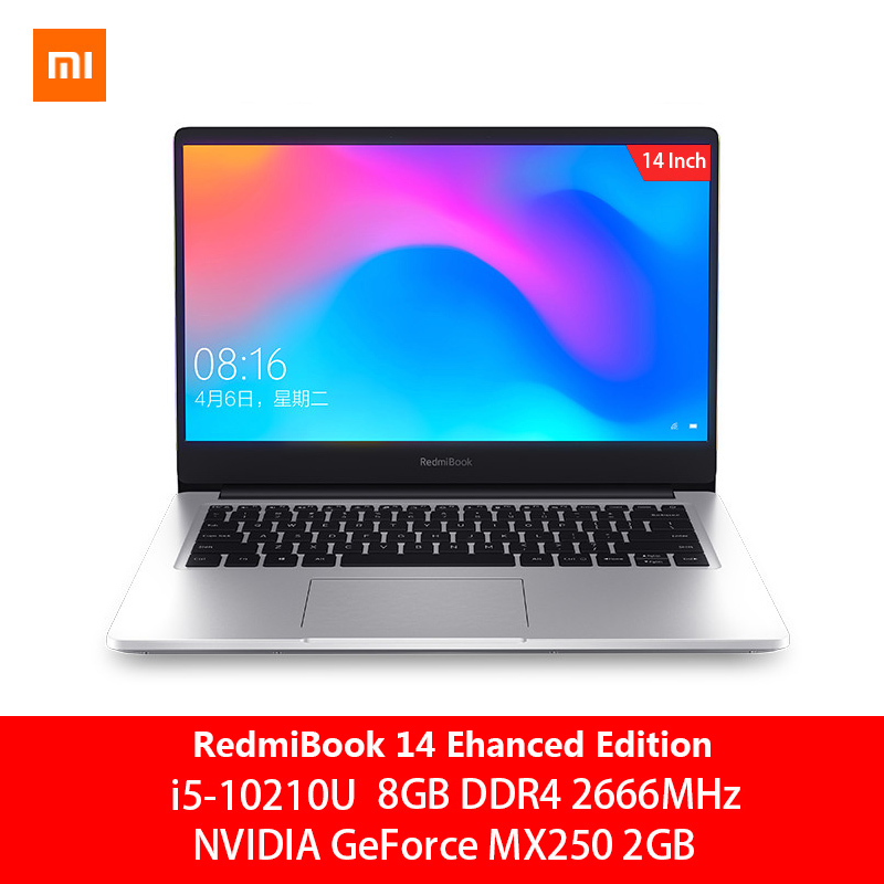 Original Xiaomi RedmiBook Laptop Pro 14.0 inch <font><b>i5</b></font>-10210U NVIDIA GeForce MX250 <font><b>8GB</b></font> DDR4 <font><b>RAM</b></font> 512GB SSD Ultra Thin <font><b>Notebook</b></font> Win10 image