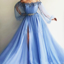 Party-Gowns Evening-Dresses Graduation Sky-Blue Puff-Sleeves Tulle Eightale-Off-The-Shoulder