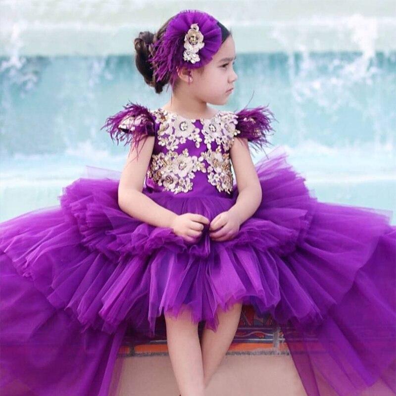 Purple Little Girls Party Dress Kids Ball Pageant Gown Tiered Organza Vestido De Gala Ninas Long Flower Girl Pageant Dresses