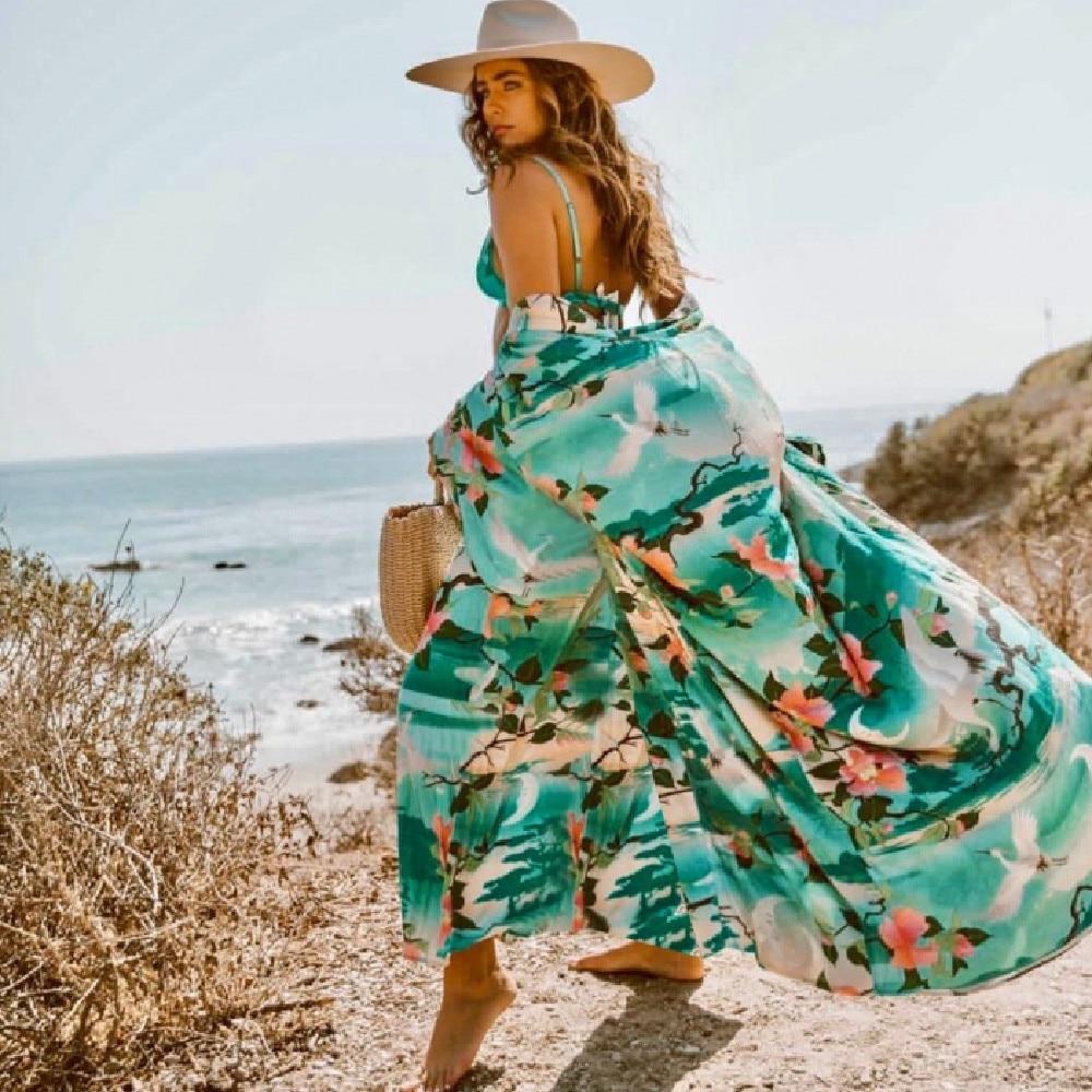Bohemian Printed Bikini Cover-ups Elegant Self Belted Kimono Dress Tunic Women Plus Size Beach Wear Swim Suit Cover Up Q1228 7