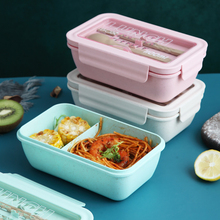 Japanese Style Student Lunch Box Wheat Straw Dinnerware Food Storage Container Children Kids School Office Portable Bento Box 1100ml microwave lunch box wheat straw dinnerware food storage container children school office portable bento box kitchen tools
