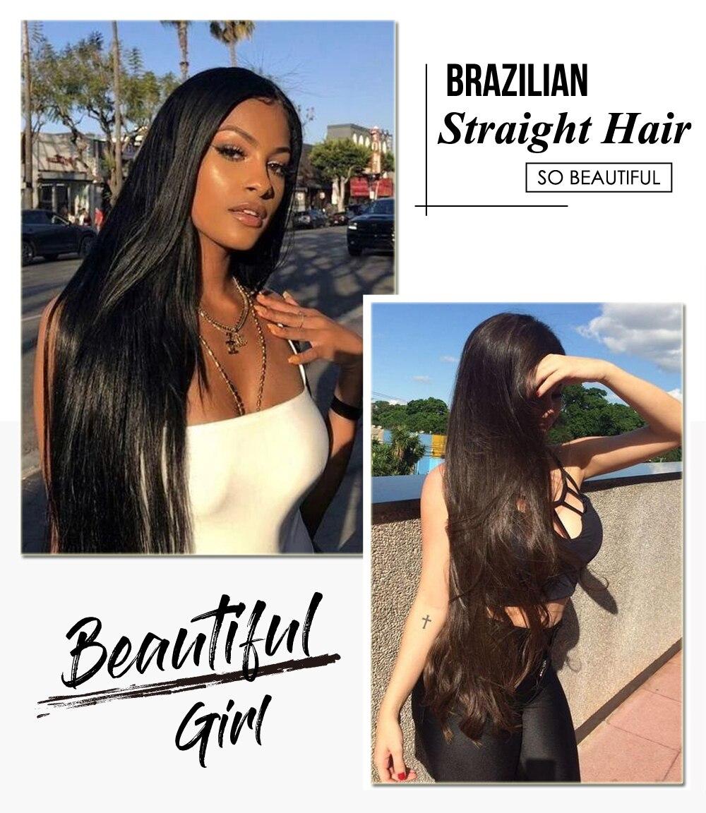 Ali Julia Hair Brazilian Straight Human Hair Bundles Remy 8 Inches to 30 Inches 1PC 3PCS 4PCS 100% Human Hair Weave Extensions (2)