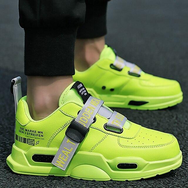 남자의 Chunky 스 니 커 즈 버클 스트랩 슈퍼 스타 캐주얼 신발 소년 실행 신발 남자 신발 트레이너 vulcanized 녹색 크기 11
