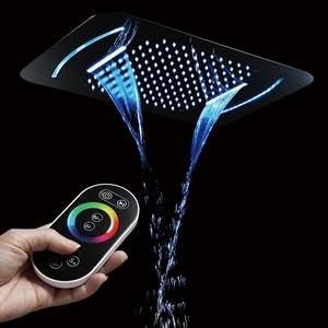 Image 1 - Роскошная светодиодсветильник насадка для душа, массажные насадки для душа из нержавеющей стали для ванной и спа, 580*380 мм, встраиваемая потолочная дождевая душевая панель