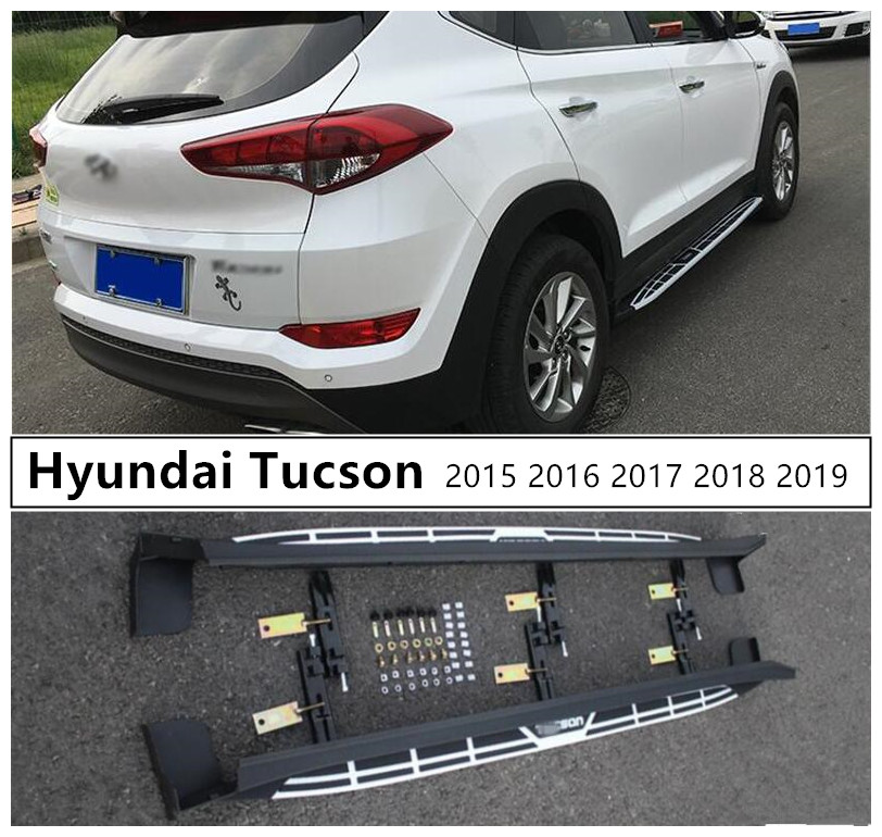For Hyundai Tucson 2015 2016 2017 2018 2019 Running Boards Side Step Bar Pedals High Quality Cayenne Style Nerf Bars