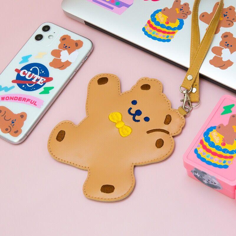 Cute Bear Card Tag Women Bag Children Student Bus Card Holder Case Girls Accessories New Kawaii Bear Card Label