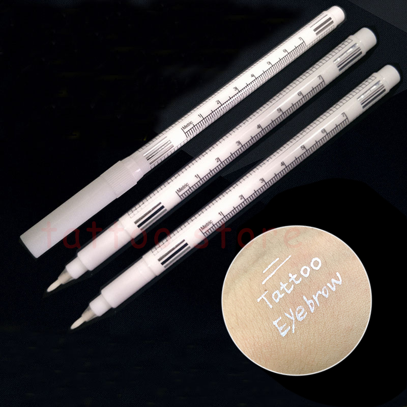 10sets White Surgical Eyebrow Tattoo Skin Marker Pen Tools Microblading Accessories Tattoo Marker Pen Permanent Makeup Supplier