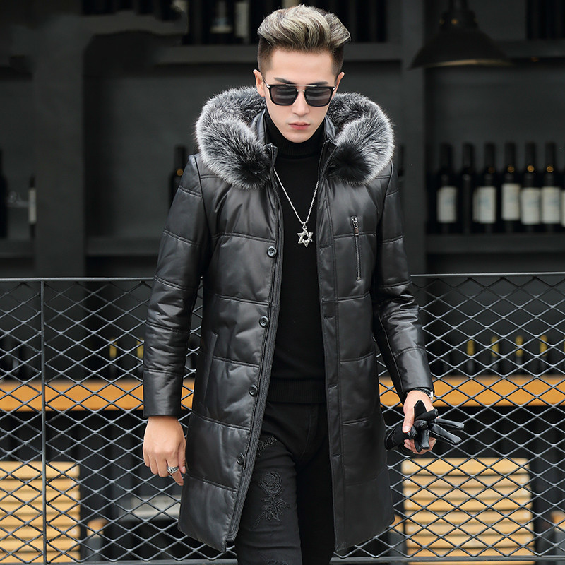 Genuine Leather Jacket Men Winter Hooded Jackets Real Sheepskin Fox Fur Collar Mens Warm Down Coat Jaqueta Couro YZF89812 YY419