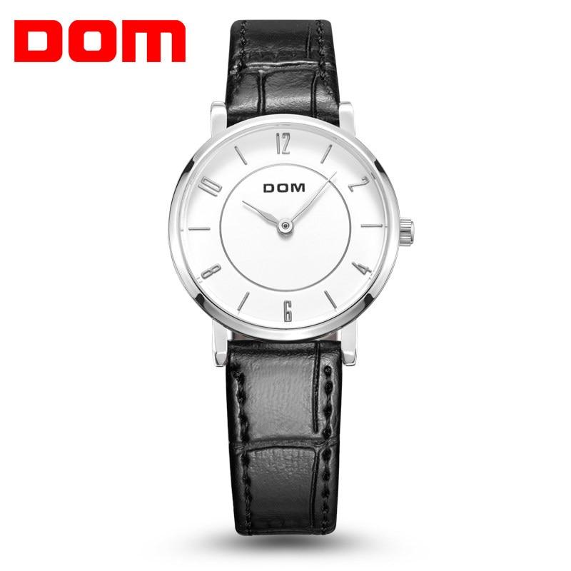 DOM Woman's Watch Fashion Luxury Ladies Quartz Wristwatch Top Brand Leather Strap Watch Women Watches  G-31L-7M2