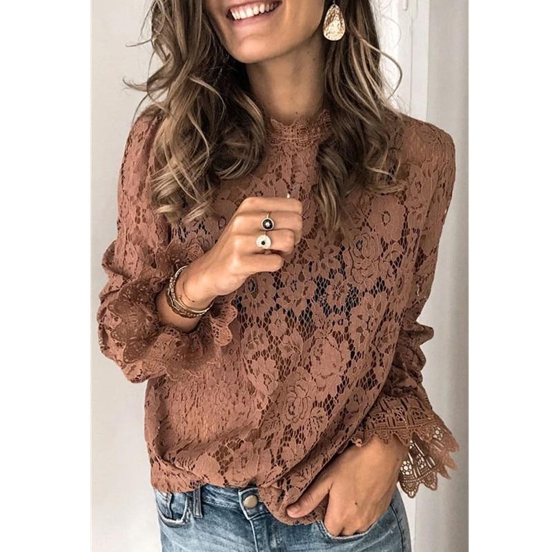 Blusa de encaje con manga larga para verano, camisa elegante con encaje para mujer, con volantes, cuello redondo, flores, color negro y marrón, nueva llegada