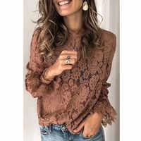 Blusa de encaje con manga larga para verano, camisa elegante con encaje calado para mujer, con volantes, cuello redondo, flores, color negro y marrón, nueva llegada