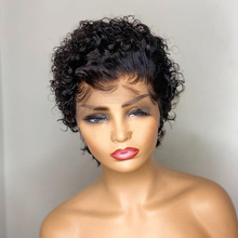 Curly Wig Lace-Wig Human-Hair Short Bob Bleached Knots Pixie Cut with Remy 180-% 13x4