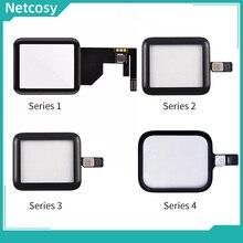 Digitalizador de tela sensível ao toque, painel de lente de vidro para apple watch series 1 2 3 4 38mm 42mm 40mm peças traseiras touchscreen de 44mm