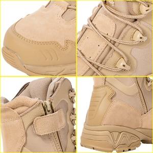 Image 4 - Military Stiefel Wüste Special Kraft Leder herren Lace Up Ankle Schuhe Männliche Taktische Zipper Armee Kampf Sicherheit Arbeit Stiefel
