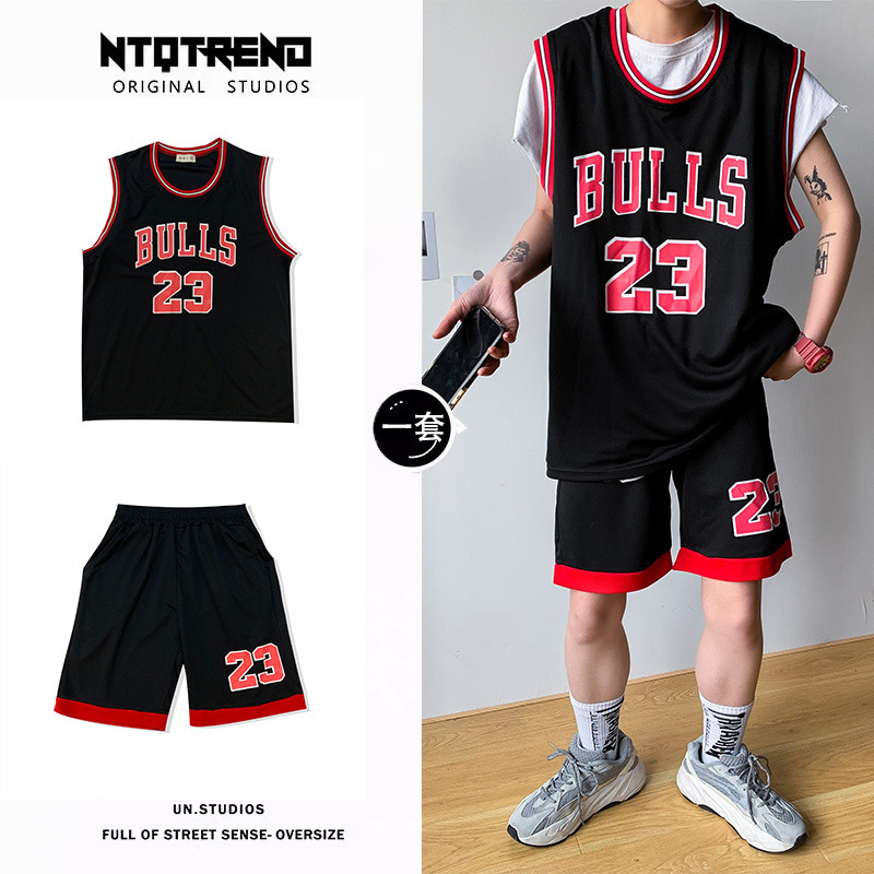 Summer Basketball Clothes Suit Male STUDENT'S Casual Loose-Fit Korean-style Sports Handsome Sleeveless Printed Jersey Popular Br